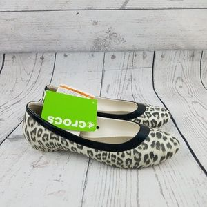 CROCS Lina Graphic Leopard Oyster Slip On Flat